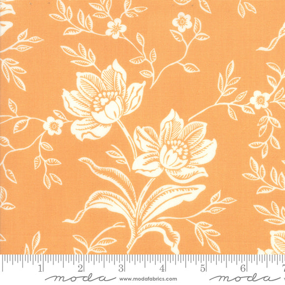 All Hallows Eve quilting fabric collections by Fig Tree Quilts for Moda Fabrics.  Orange background with large cream floral print on quality quilting cotton.