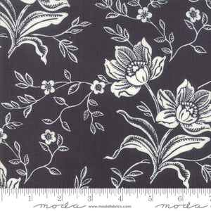 All Hallows Eve Fabric designed by Fig Tree Quilts for Moda Fabrics.  Black background with large cream floral print on quality quilting cotton.