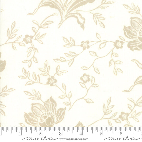 All Hallows Eve Fabric Yardage by Fig Tree Quilts for Moda Fabrics.  Large gray floral print on a cream background on quality quilting fabric.