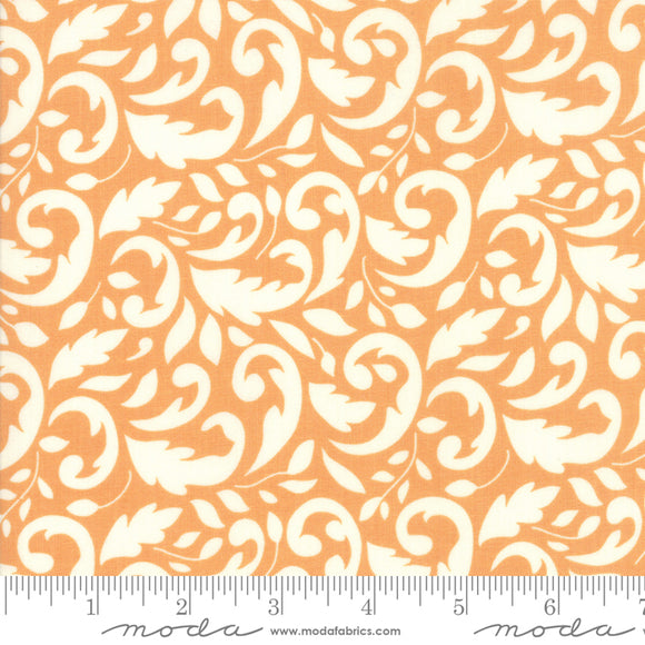 All Hallow's Eve Pumpkin Flourish Yardage | SKU# 20351-11 All Hallow's Eve Pumpkin Flourish Yardage by Fig Tree Quilts for Moda Fabrics.  Cream swirl design on orange background. Quality quilting cotton fabric.