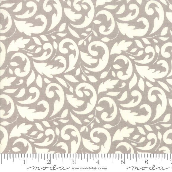 All Hallow's Eve Fog Flourish 20351-15 yardage by Fig Tree Quilts for Moda Fabrics.  White cream swirl on gray background.  High quality quilting fabric.