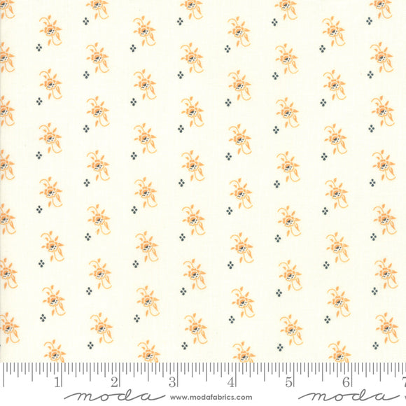 All Hallow's Eve Ghost Pumpkin Blooms 20352-16 by Fig Tree & Co. for Moda Fabrics.  Orange and black floral and dot print on a cream background.  High quality quilting cotton.