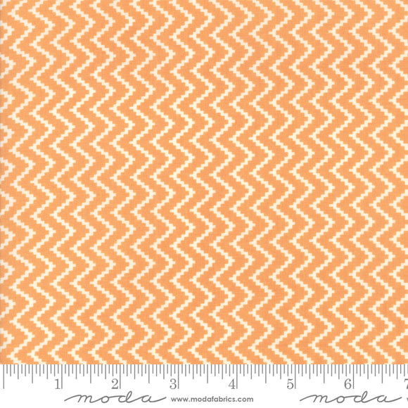 All Hallow's Eve Pumpkin Zig Zag 20353-11 by Fig Tree & Co. for Moda Fabrics.  Orange background with cream zig zag chevron design.  Printed on high quality quilting cotton fabric.
