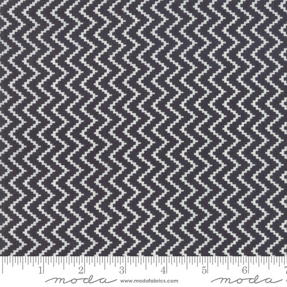 All Hallow's Eve Midnight Zig Zag 20353-13 by Fig Tree Quilts for Moda Fabrics.  Black and white zig zag chevron pattern printed on high quality quilting fabric.