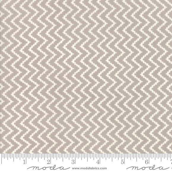 All Hallow's Eve Ghost Zig Zag 20353-15 by Fig Tree & Co. yardage for Moda Fabrics.  Gray and white zig zag chevron pattern on high quality quilting cotton.