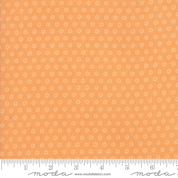 All Hallow's Eve Pumpkin Polka Dot Circles 20354-11 by Fig Tree & Co. yardage for Moda Fabrics.  Orange background with small white creamdot circle design.  High quality quilting cotton fabric.