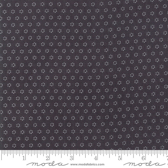 All Hallow's Eve Midnight Polka Dot Circles 20354-13 by Fig Tree & Co. for Moda Fabrics.  Black background with white cream dot circle design.  High quality quilting fabric.