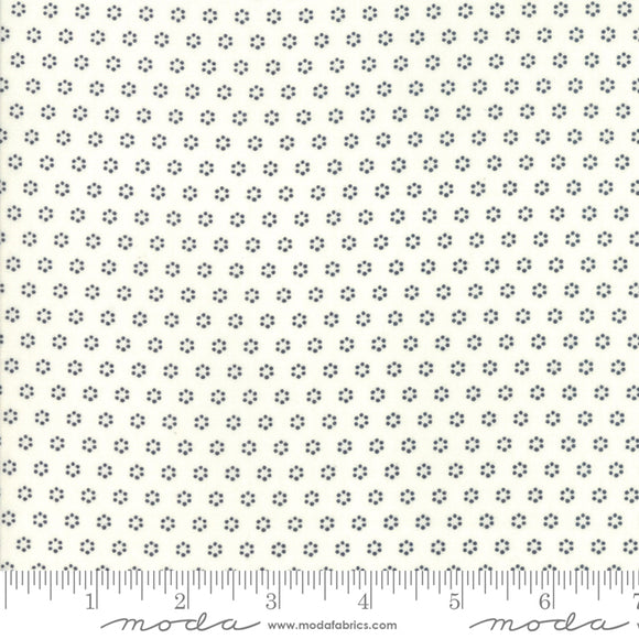 All Hallow's Eve Ghost & Midnight Polka Dot Circles 20354-27 by Fig Tree & Co. yardage for Moda Fabrics.  Cream background with black circle dot print.  High quality quilting cotton fabric.