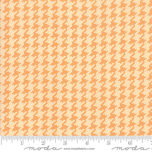 All Hallow's Eve Pumpkin Houndstooth 20355-11 by Fig Tree & Co. yardage for Moda Fabrics.  Orange and cream houndstooth print on high quality quilting cotton fabric.