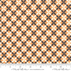 All Hallow's Eve Pumpkin Crisscross 20356-11 by Fig Tree & Co. yardage for Moda Fabrics.  Orange cream and black design on high quality quilting cotton fabric.