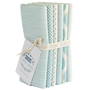 Tilda Basics Fat Quarter Bundle in light blue.  Six Tilda fabrics bundled together.  Stripes, Star, and Dots.
