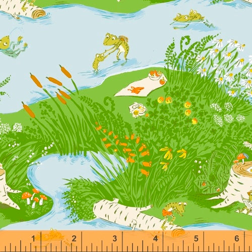 Frog Pond in blue quilting fabric designed by Heather Ross for Windham fabrics .  20th Anniversary collection.