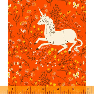 Unicorn in orange quilting fabric designed by Heather Ross for Windham fabrics .  20th Anniversary collection.
