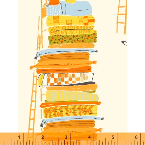 Princess and the Pea in yellow quilting fabric designed by Heather Ross for Windham fabrics .  20th Anniversary collection.