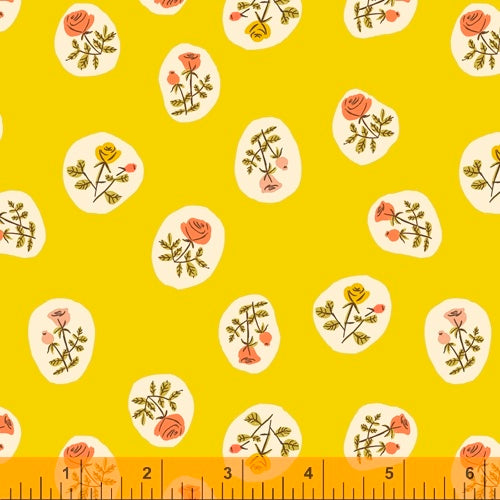 Small Roses in Yellow quilting fabric designed by Heather Ross for Windham fabrics .  20th Anniversary collection.