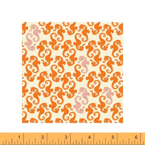 Sea Horses in cream orange quilting fabric designed by Heather Ross for Windham fabrics .  20th Anniversary collection.