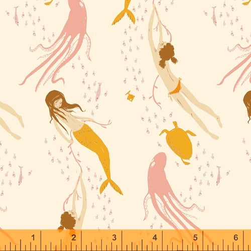 Underwater Sisters mermaids in blush pink quilting fabric designed by Heather Ross for Windham fabrics .  20th Anniversary collection.