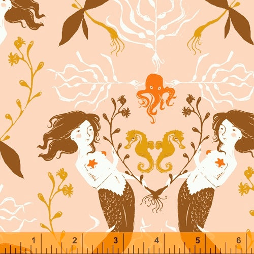 Mermaids fabric in blush pink part of Heather Ross 20th Anniversary collection for Windham Fabrics.