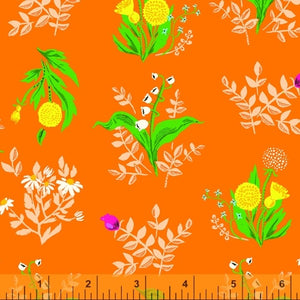Bouqet flowers orange fabric by Heather Ross 20th Anniversary Collection for Windham Fabrics.