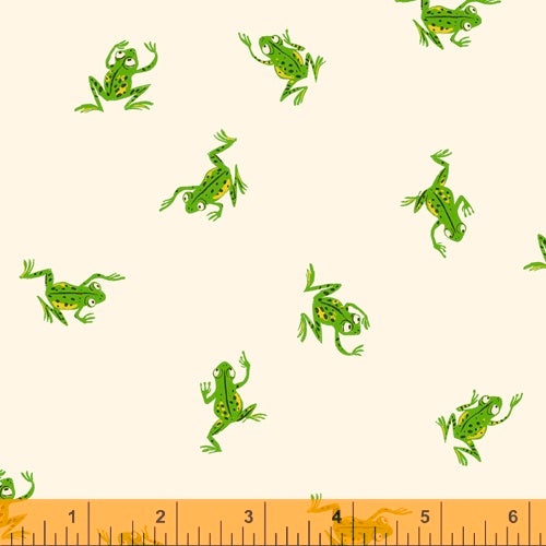 Frogs in White 43484-3 by Heather Ross part of the 20th Anniversary Collection for Windham Fabrics.  Quilting fabric.