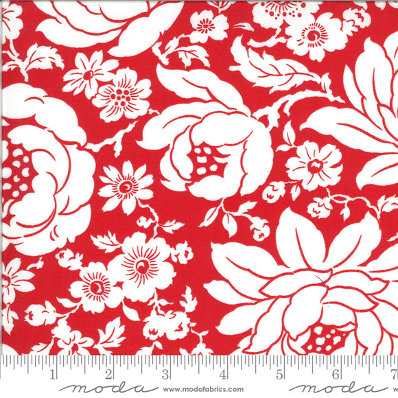 Shine on Fabric designed by Bonnie & Camille for Moda Fabrics. Red background with large white floral print. Quilting cotton fabric.