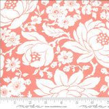 Shine on quilting fabric designed by Bonnie and Camille for Moda Fabrics.  White floral mums on Pink bacgfround.