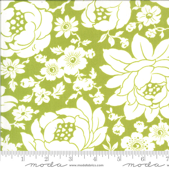 Shine on Fabric designed by Bonnie & Camille for Moda Fabrics. Green background with large white floral print. Quilting cotton fabric.
