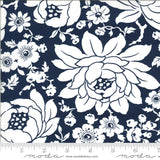 Shine on floral mums print in navy blue with white.  Quilting fabric designed by Bonnie & Camille for Moda Fabrics.