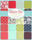 Shine On quilting fabric collection designed by Bonnie & Camille for Moda Fabrics. A layer cake includes 42 precut 10 inch squares of high quality quilting cotton fabric.  Edit alt text