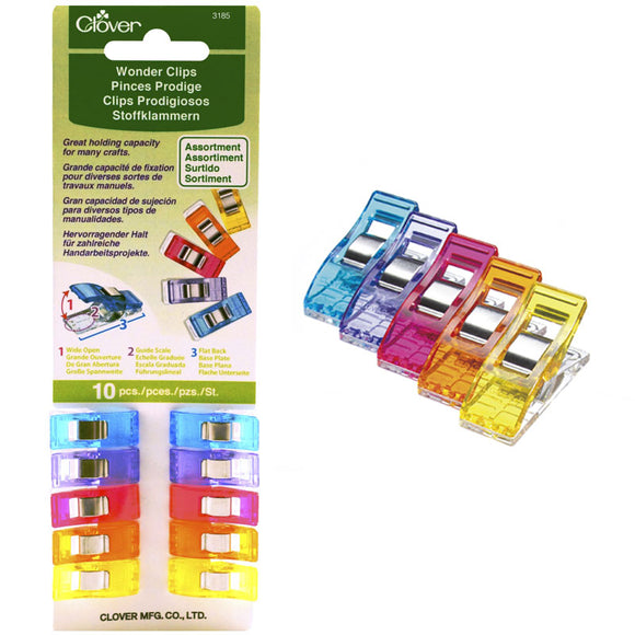 Clover Wonder clips work like pins to help hold fabric in place while sewing.  10 clips in 5 assorted rainbow colors.