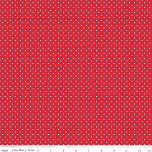 A must have basic by Riley Blake Designs - white Swiss Dot on red background fabric