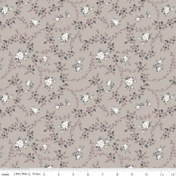 Serenity Rose Bouquet Taupe by Planted Seed Designs for Riley Blake Designs quilting fabric.
