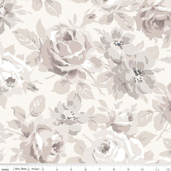 erenity Planted Seed Designs Riley Blake Main Cream Large Floral quilting fabric.
