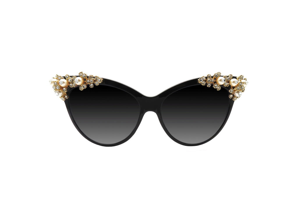 Custom Cat-eye sunglasses hand embellished in Melbourne Australia with Swarovski pearls and crystals.