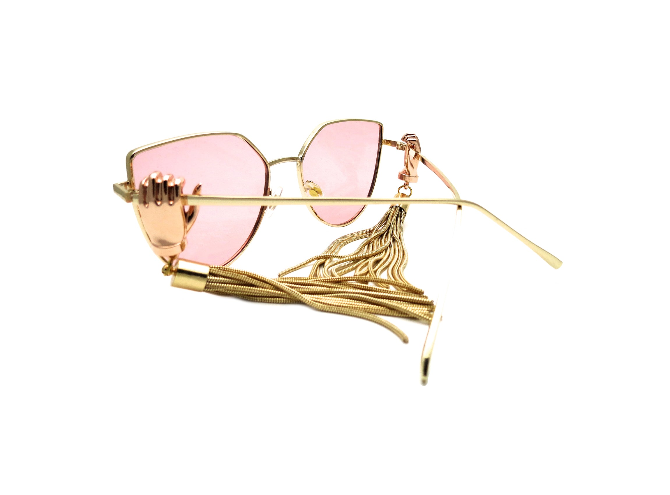 BAZZAR - Pink toned sunglasses with circus hands and gold tassel finished in an elegant gold frame.