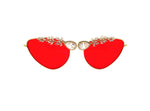 Red Cat-eye sunglasses hand embellished with cubic zirconia in Melbourne Australia