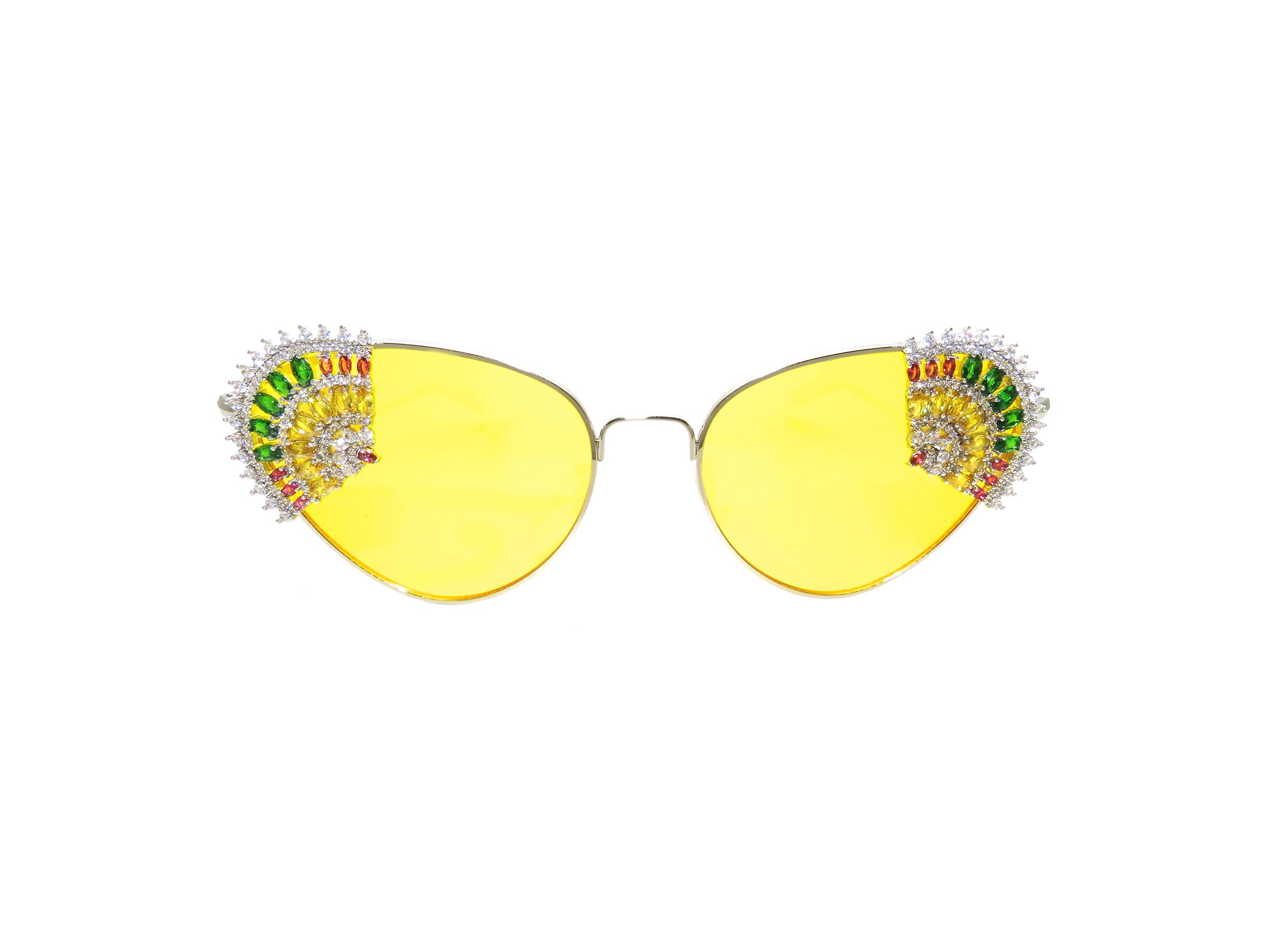 Custom yellow lens sunglasses with hand detailed cubic zirconia colourful fan. Made in Melbourne, Australia.