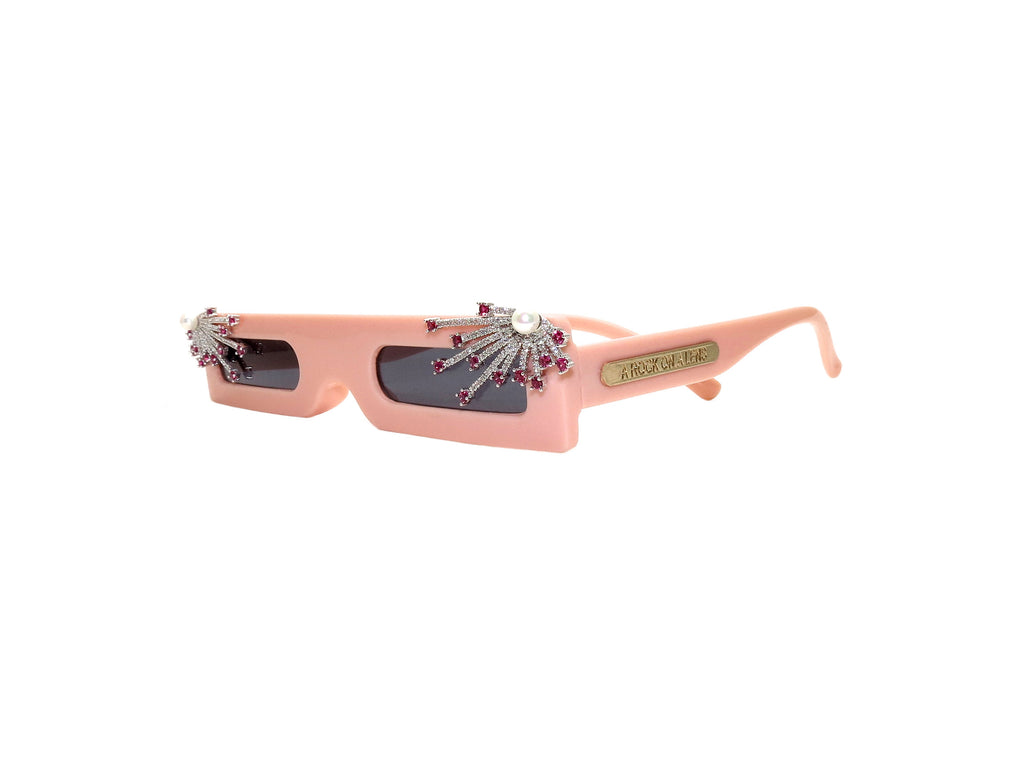 Thin pink square sunglasses with a custom cubic zircon and pearl detail. Hand Embellished in Melbourne, Australia