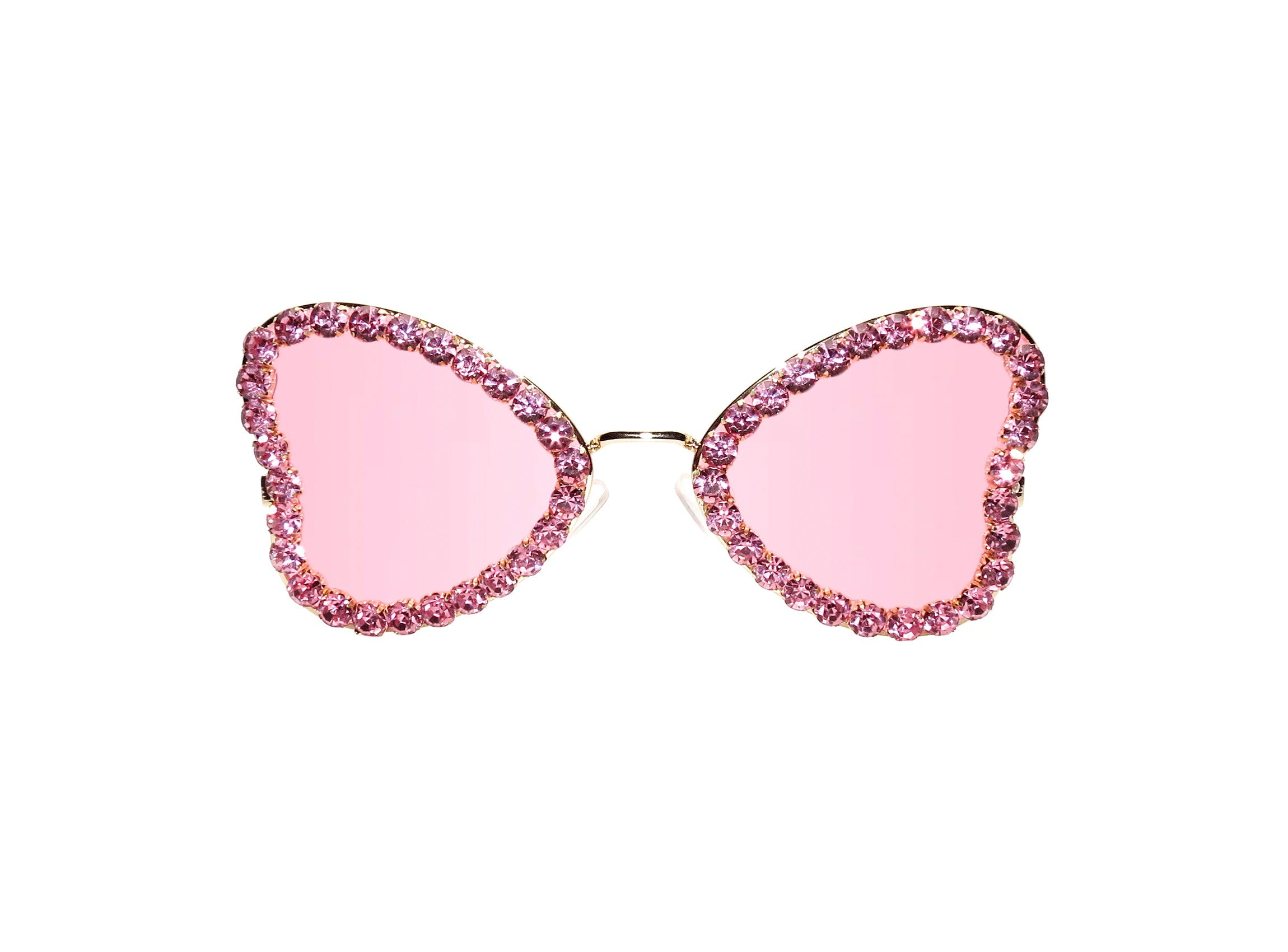 Pink butterfly sunglasses with a pink rhinestone trim. Hand Embellished in Melbourne, Australia