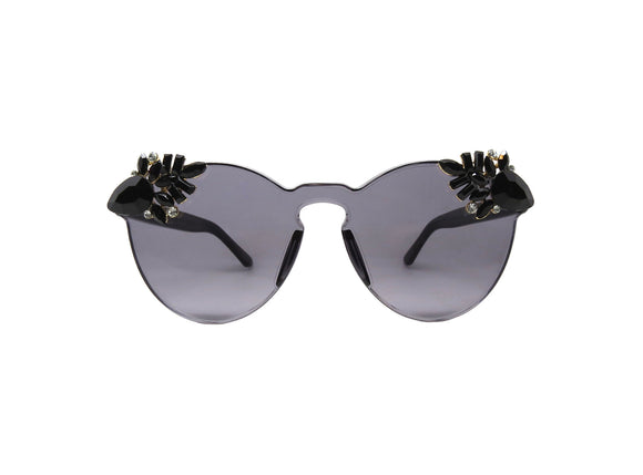 PUNCH - Black Embellished Sunglasses - A Rock on a Lens
