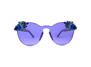 PUNCH - Blue Embellished Sunglasses - A Rock on a Lens