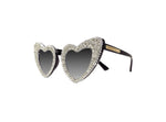 Custom made love heart shaped sunglasses that have been hand embellished with a rhinestone trim and crystal rocks. Made in Melbourne, Australia
