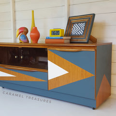 retro teak TV unit restored by Caramel Treasures using fusion mineral paint Homestead Blue and Cesement Leeds