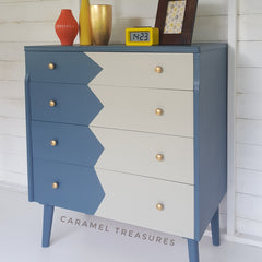 retro teak chest of drawers painted by Caramel Treasure in fusion mineral paint Homestead Blue and Bedford, near Leeds West Yorkshire