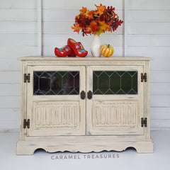 Vintage TV unit painted in Old Ochre Annie Sloan by Caramel Treasures near Leeds West Yorkshire