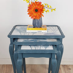 vintage set of nested tables painted in Fusion mineral paint Homestead Blue and decoupaged with floral tropical paper by Caramel Treasures near Leeds