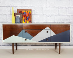 award winning retro sideboard painted with fusion mineral paint Inglenook, Midnight Blue, Sterling and Homestead Blue by Caramel Treasures Yorkshire near Leeds