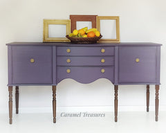 purple serpentine regency sideboard painted in fusion mineral paint by Caramel Treasure near Leeds West Yorkshire