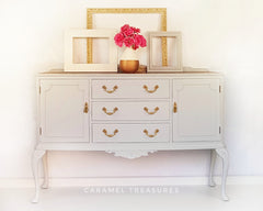 Edwardian style vintage sideboard painted with fusion mineral paint pale grey Sterling by Caramel Treasures near Leeds Yorkshire