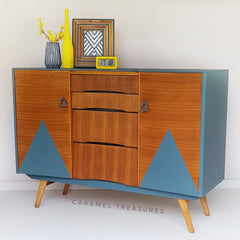 retro teak sideboard restored by Caramel Treasures near Leeds West Yorkshire using fusion mineral paint